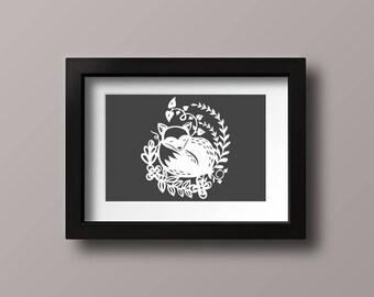 Fox Papercut - framed - paper cut out, wall art, paper cut, papercutting, paper cutting, papercut art, paper cut art, nursery art