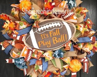 Fall Deco Mesh Wreath, Autumn Deco Mesh Wreath, Football Wreath, Fall Mesh wreath, Front Door Wreath, Autumn Mesh wreath,