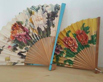 Vintage Paper Flower Folded Fan (pair)