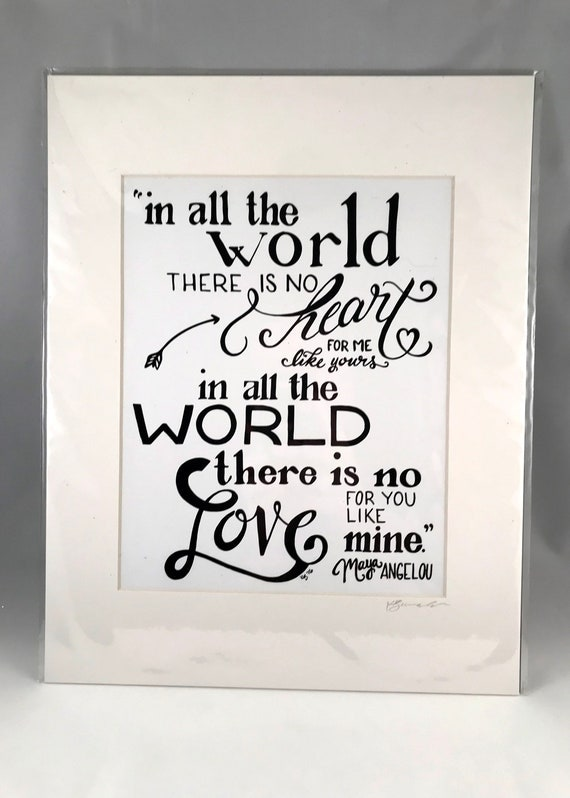 Hand Drawn Maya Angelo Print   Hand Written Quote Signs   Home Decor   Gifts for the Home   Gift for Mom   Gift for Co Worker