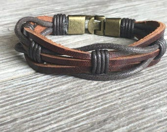 Mens Leather Bracelet, Secure Metal Clasp, Mens Bracelet, Mens Jewelry, Leather Bracelet, Boyfriend, Groom, Groomsmen CS-2