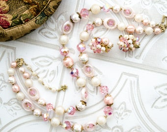 Faux Pearl and Crystal Beaded Necklace and Earrings - Vintage 1950s Jewelry Set - Summer Wedding Jewelry - Vendome Jewelry Set- Gift For Her