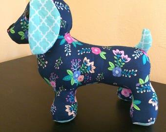 Plush weiner dog, stuffed weiner dog,flowered dog