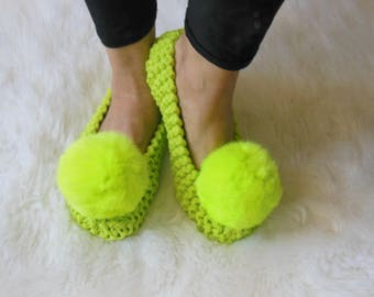 Lime Green, COTTON Women's Slippers, Pom-Pom Slippers, Non-Slip House Slippers, Knitted Footwear, Ballet flats, House shoes, Gift Wrapping
