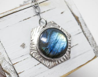 Labradorite Fine Silver Necklace - GD318