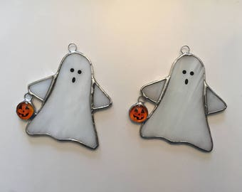 Handmade Stained Glass Ghost with Pumpkin - Small