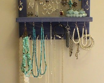 ON SALE Space Saving Perfect Periwinkle Wall Mounted Jewelry Organizer, Wall Organizer, Jewelry Display, Necklace Holder