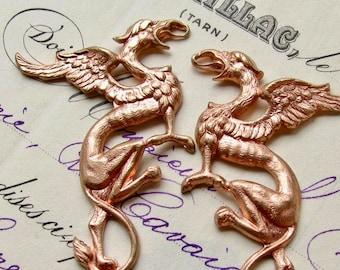 Griffin pair, 35mm brass dragon links (2 Gothic symbols connectors) rose gold color, rose gold antiqued brass, antiqued rose ox