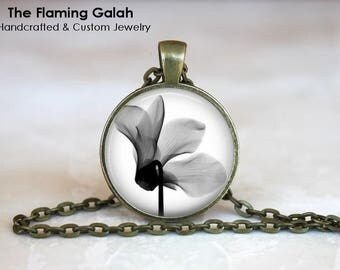 ORCHID Pendant • Orchid Xray • X-Ray Flower • Beautiful Orchid • Delicate Black and White Flower • Gift Under 20 • Made in Australia (P1502)