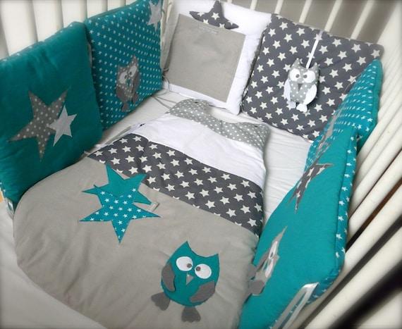 Tour de lit chouettes et toiles bleu canard et gris - Confectionner un tour de lit bebe ...