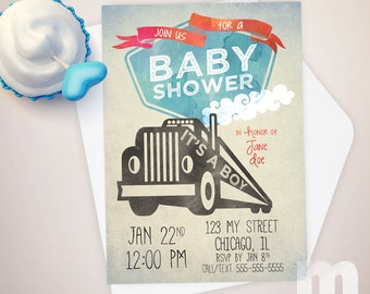 Truck Baby Shower Invitation, Baby Shower Invitations for Boy, Baby Shower Cards, Sprinkle Invitation, Baby Shower Printable Invitation