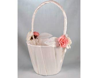 Flower Girl Basket - Pink and White Roses