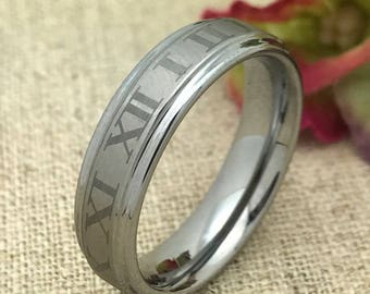 Size 10 - 6mm Personalized Tungsten Wedding Band, Tungsten Wedding Ring, Promise Ring, Purity Ring, Couples Ring, Men's Wedding Band
