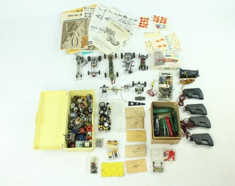 Vintage 60s Slot Car Lot Dragster Chassis Motors Wheels Tires Manuals Stickers Controllers Parts 1/32 1/87 1/64 HO Pittman Aurora