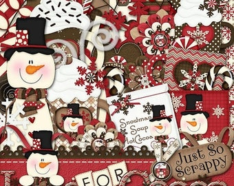 On Sale 50% Winter Digital Scrapbooking Kit Loco For Cocoa, Scrapbooking, Digital