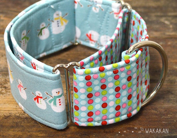 Martingale dog collar model Snowman. Adjustable and handmade with 100% cotton fabric. Xmas style, winter, snow Wakakan