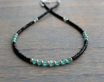 Black Spinel Necklace, Apatite Necklace, Womens Gemstone Necklace, Womens Necklace, Boho Chic Dainty Necklace, Gift For Her,