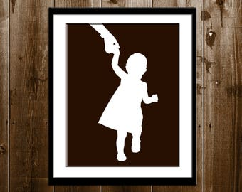 Kids Custom Silhouette Portrait from your Photo, Boy or Girl Silhouette Wall Art, Father's Day Gift Silhouette Print, Children Silhouette