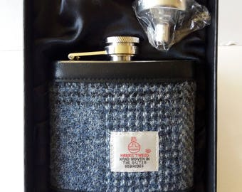 Hip Flask / Harris Tweed / Leather/ Grey and Black