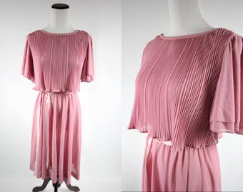 1970's Pink Flutter-sleeve Dress w/ Satin Ribbon Waist Sash
