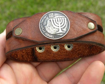 Customize size Jewish Bracelet wristband Israel Agorot coin Holly land Jerusalem  Menorah Buffalo leather gift for Hanukkah Bar Bat Mitzvah