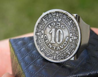 Men ring Authentic 10 centavos vintage Aztec calendar coin various readable dates ring  silver plated  ring Aztec style rustic tribal   ring