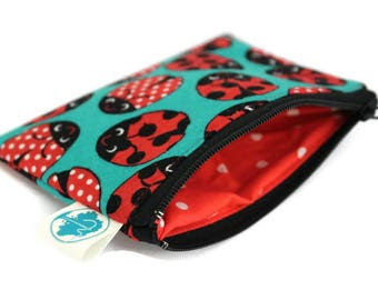 Coin Purse - Coin Bag - Change Purse - Small Cosmetic Bag - Zipper Pouch - Change Pouch in Ladybug