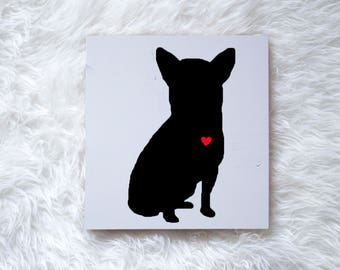 Hand Painted Chihuahua Silhouette on Painted Grey Wood, Dog Decor, Dog Painting, Gift for Dog People, New Puppy Gift, Housewarming Gift