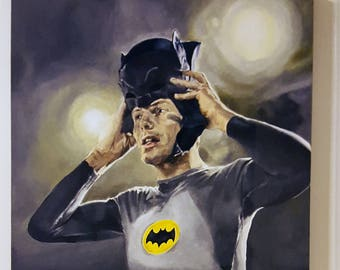 West's Mask - Adam West Superhero Batman's Cowl Art Acrylic ORIGINAL Painting