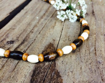 Beaded wooden mens necklace, Wood jewelry for him, boyfriend gift ideas, casual jewelry