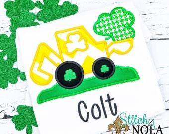 St Patrick's Day Digger Backhoe Applique, St Patrick's Day Excavator applique, Shamrock Applique, Shamrock Shirt