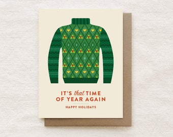 Ugly Christmas Sweater Card, Funny Christmas Card, Funny Holiday Card, Happy Holidays, Card for Family, Card for Friend - Turtleneck