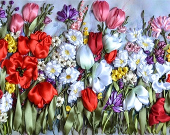 """Hand Embroidered picture """"Million Flowers Field""""  - Long Picture - Silk Ribbon Embroidery - 3D Effect -NOT FRAMED"""