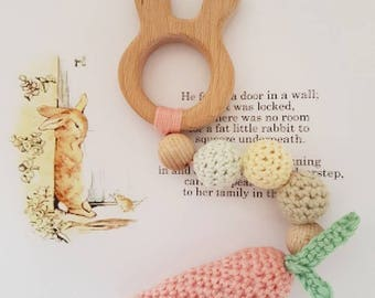 Bunny teething ring with crochet carrot
