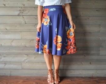 SALE 5 DOLLARS OFF! Navy and Orange Floral Skirt