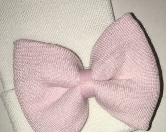 Newborn Hospital Hat. White Hat with Same Material as Hat, Pink Bow! 1st Keepsake! Baby's 1st hat and Bow! Great Gift ! 2 Ply