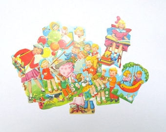 Vintage die cuts: pack of 15 mixed embossed die cuts. Embellishment for card making, scrapbook, journaling, collage PE415