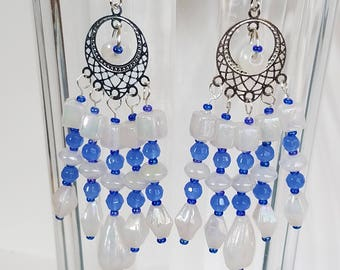 Chandelier Earrings, Beaded Earrings, Dangle Earrings, Blue Earrings, White Earrings, Glass Earrings, Earrings Beaded, Long Earrings