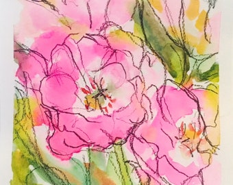 Pink Watercolor Tulips with Graphite
