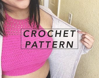 crochet crop top pattern, crochet pattern, crochet halter top pattern, picture tutorial | instant Pdf download, THE SEELEY HALTER