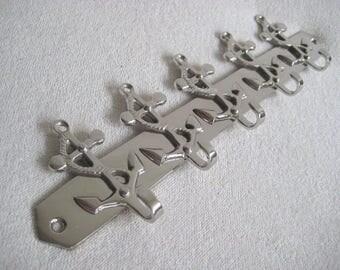 Maritime hook Strip Wall Hook-5 hooks-25 cm-brass, nickel plated-275 g-Anchor