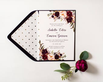 isabella burgundy floral save the date invitation  //  printed invite /  burgundy watercolor rustic custom modern calligraphy invite