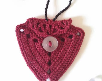 Atlas Satchel; Pouch; Crochet Pouch; Red Pouch; Bag Pouch; Bag Necklace; Pouch Necklace; Decorative Pouch; Decorative Bag; Worry Pouch;