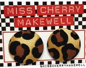 Leopard Print Fabric Button Rockabilly 1950's Pin Up Punk Vintage  Inspired Stud Earrings By Miss Cherry Makewell