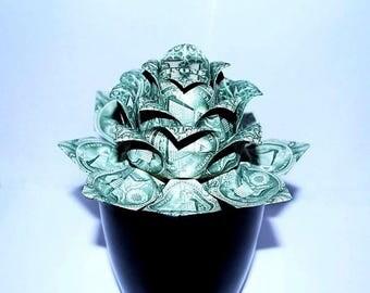 money flower - origami lotus - money lotus - dollar flower - lotus flower - water lily - US dollar bills - graduation Gift - special gift