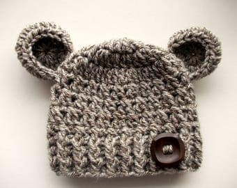 Wool bear hat Baby bear hat Baby hat with ears Newborn bear hat Baby animal hat Baby boy hat Crochet bear hat Newborn boy outfit