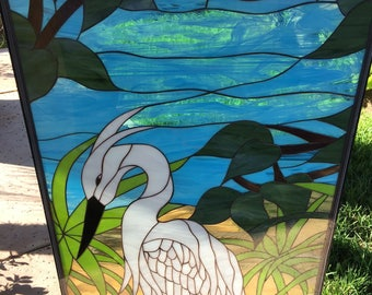 White Egret/Heron & Pond Leaded Stained Glass Window