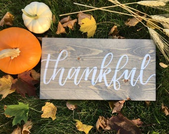 Thankful Rustic Wood Sign - Fall Sign - Thanksgiving Sign - Grey Stain -  Farmhouse Sign - Fall Sign