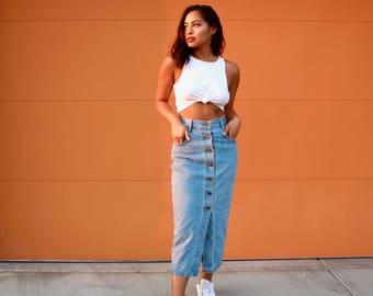 "90's Long Button Up Denim Skirt 26"" | Vintage Jean Maxi Skirt | 90's Jean Skirt"