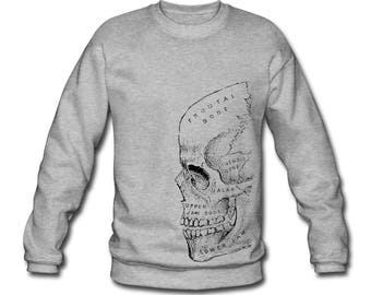 Skull Diagram Anatomy Skeleton Print Ethically Produced Sweatshirt Sweater For Men. Sizes M-XXL. Heather Grey.